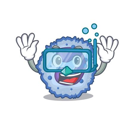 cartoon character of basophil cell wearing Diving glasses. Vector illustration