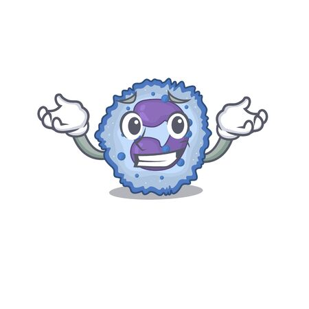 Super Funny Grinning basophil cell mascot cartoon style. Vector illustration Ilustrace