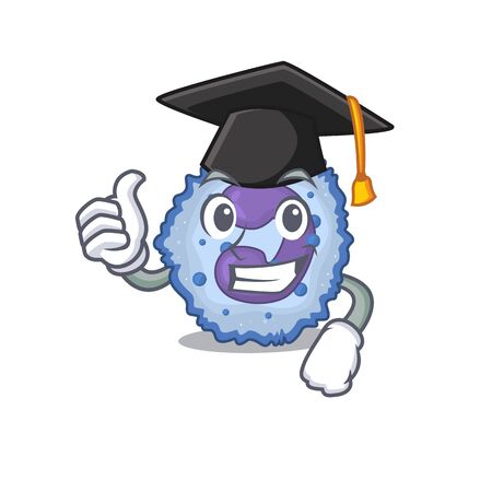 happy and proud of basophil cell wearing a black Graduation hat. Vector illustration Illustration