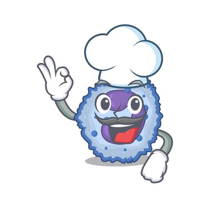 Basophil cell cartoon character wearing costume of chef and white hat. Vector illustration