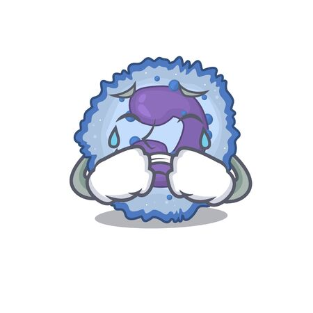 Sad of basophil cell cartoon mascot style. Vector illustration