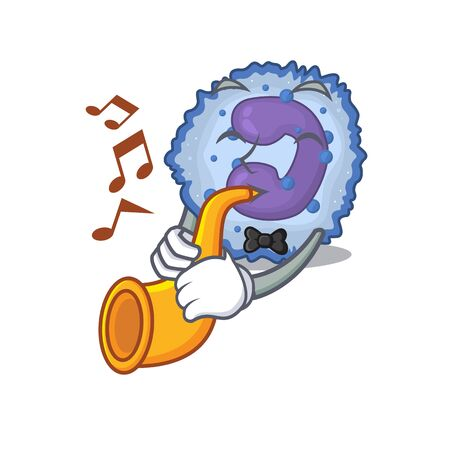 cartoon character style of basophil cell performance with trumpet. Vector illustration Vector Illustration