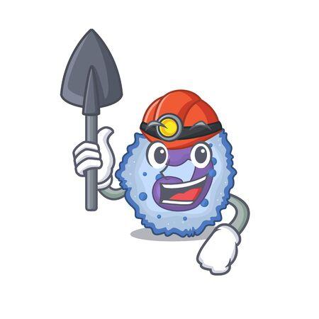 Cool clever Miner basophil cell cartoon character design. Vector illustration Vector Illustration