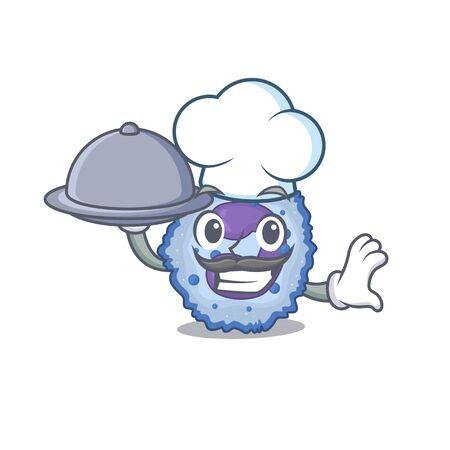cartoon design of basophil cell as a Chef having food on tray. Vector illustration