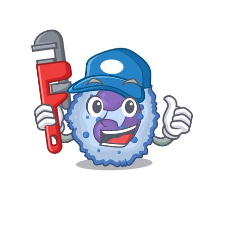 Cool Plumber basophil cell on mascot picture style. Vector illustration