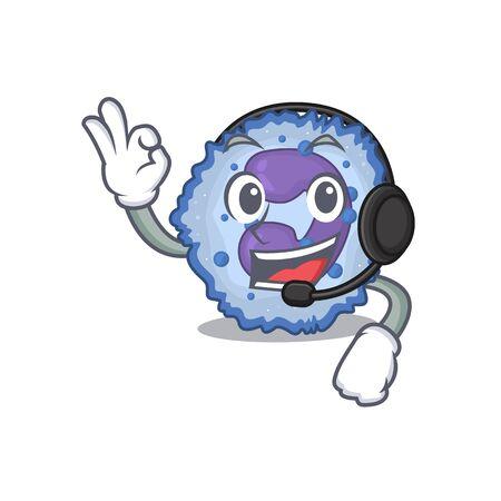 Smiley basophil cell cartoon character design wearing headphone. Vector illustration Vector Illustration