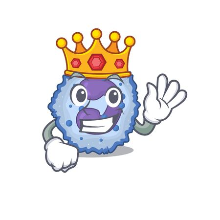 A stunning of basophil cell stylized of King on cartoon mascot style. Vector illustration