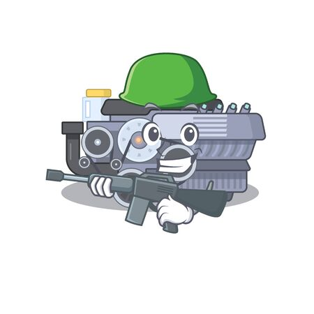 A cartoon design of combustion engine Army with machine gun. Vector illustration