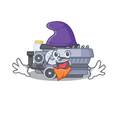 Funny combustion engine cartoon mascot performed as an Elf. Vector illustration