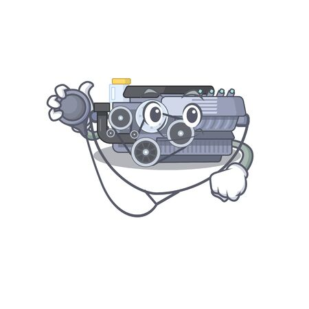 Smart and cool combustion engine cartoon character in a Doctor with tools. Vector illustration