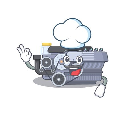 Combustion engine cartoon character wearing costume of chef and white hat. Vector illustration