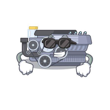 Super cool combustion engine character wearing black glasses. Vector illustration Vector Illustration