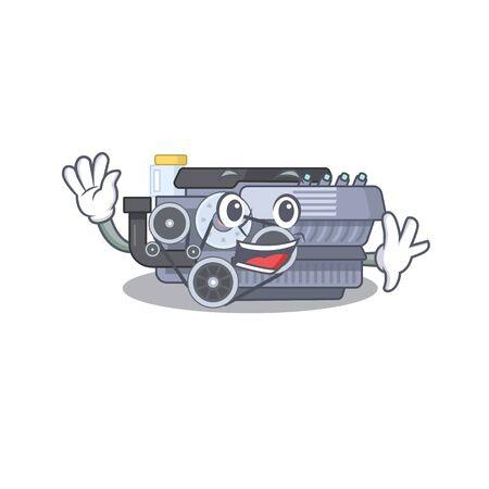 Waving friendly combustion engine cartoon character design. Vector illustration