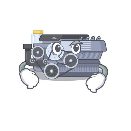 Cool combustion engine mascot character with Smirking face. Vector illustration