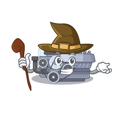 cartoon mascot style of combustion engine dressed as a witch. Vector illustration