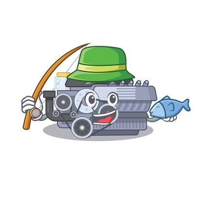 A Picture of happy Fishing combustion engine design. Vector illustration