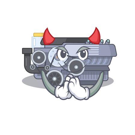 Devil combustion engine Cartoon in character design. Vector illustration Illustration