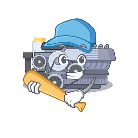 Sporty combustion engine cartoon character design with baseball. Vector illustration