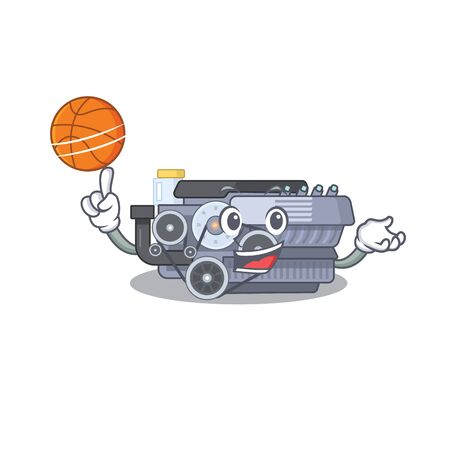 A mascot picture of combustion engine cartoon character playing basketball. Vector illustration