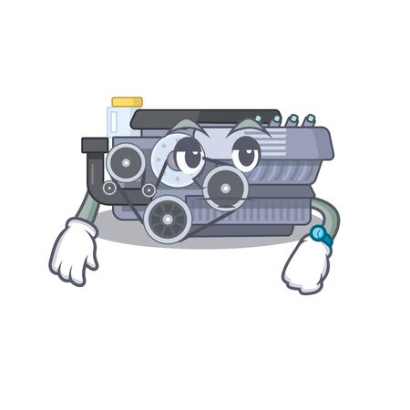 cartoon character design of combustion engine on a waiting gesture. Vector illustration