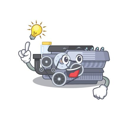 Have an idea gesture of combustion engine cartoon character design. Vector illustration