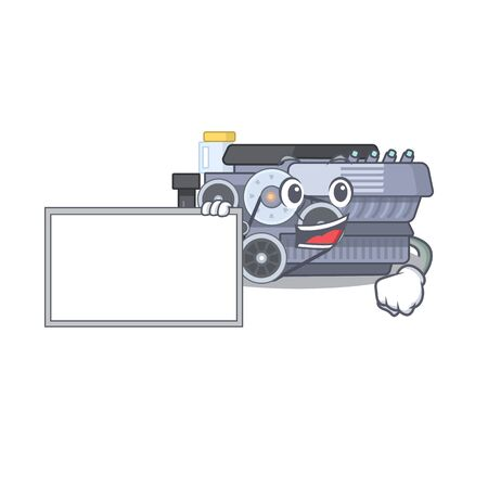 Funny combustion engine cartoon character design style with board. Vector illustration