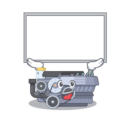 A mascot picture of combustion engine raised up board. Vector illustration