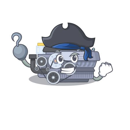 cool and funny combustion engine cartoon style wearing hat. Vector illustration