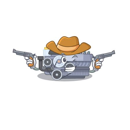 Combustion engine dressed as a Cowboy having guns. Vector illustration