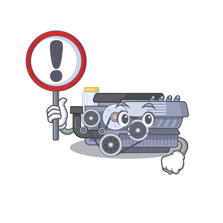 cool and funny combustion engine raised up a Sign. Vector illustration Ilustração