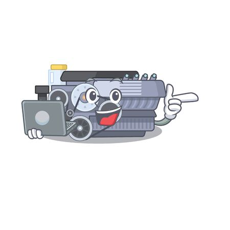 Smart character of combustion engine working with laptop. Vector illustration Ilustração