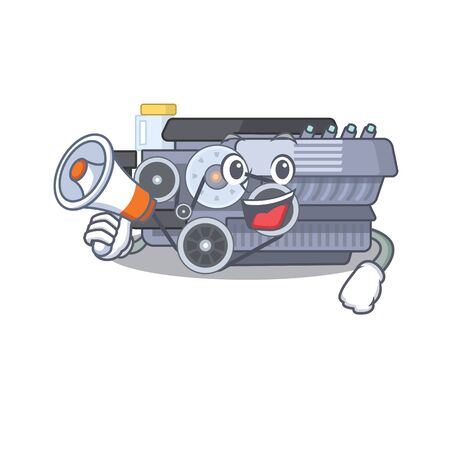 An icon of combustion engine having a megaphone. Vector illustration