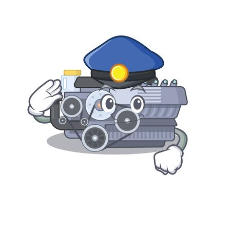 Combustion engine Cartoon mascot performed as a Police officer. Vector illustration