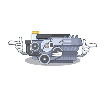 mascot cartoon design of combustion engine with Wink eye. Vector illustration