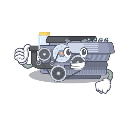Cheerfully combustion engine making Thumbs up gesture. Vector illustration