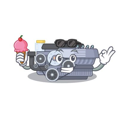 Combustion engine mascot cartoon design with ice cream. Vector illustration