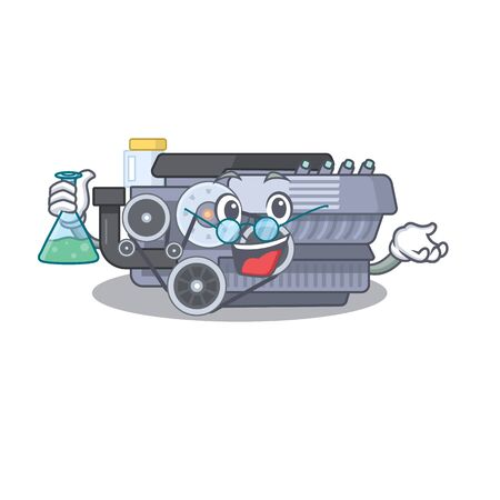 Smart Professor combustion engine cartoon character with glass tube. Vector illustration