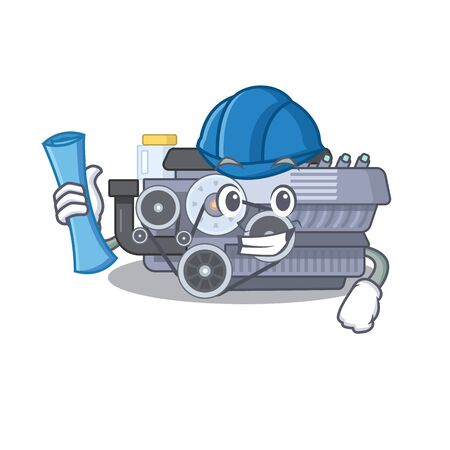 Elegant Architect combustion engine having blue prints and blue helmet. Vector illustration