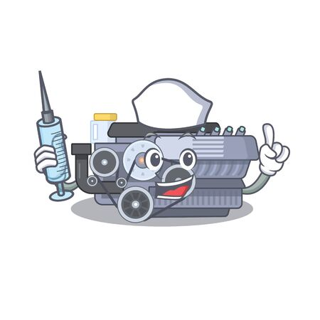 Smiley Nurse combustion engine cartoon character with a syringe. Vector illustration