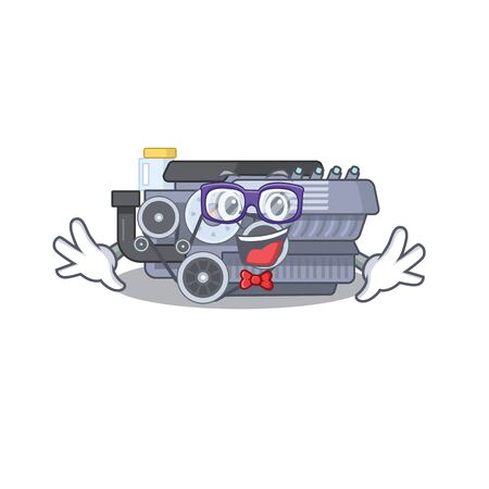 cartoon character of Geek combustion engine design. Vector illustration