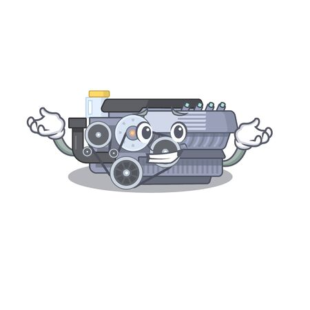 Super Funny Grinning combustion engine mascot cartoon style. Vector illustration Ilustrace