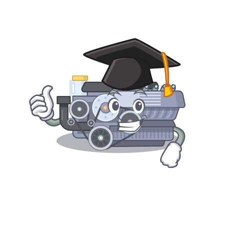 happy and proud of combustion engine wearing a black Graduation hat. Vector illustration
