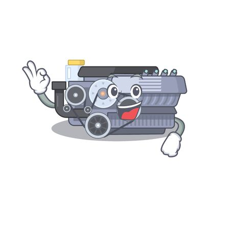 A picture of combustion engine making an Okay gesture. Vector illustration Ilustração