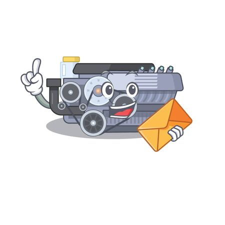 Cheerfully combustion engine mascot design with envelope. Vector illustration
