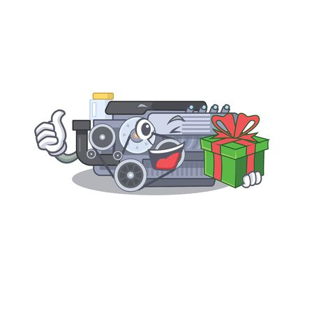 Smiley combustion engine character with gift box. Vector illustration