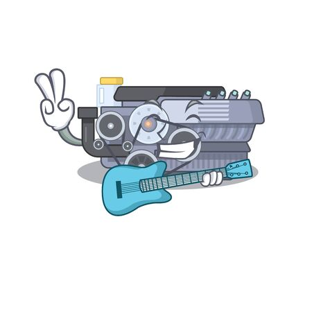 A mascot of combustion engine performance with guitar. Vector illustration