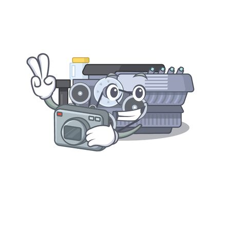 Cool Photographer combustion engine character with a camera. Vector illustration