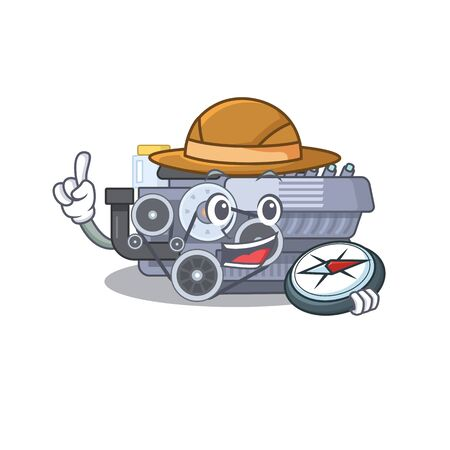 Combustion engine stylized Explorer having a compass. Vector illustration