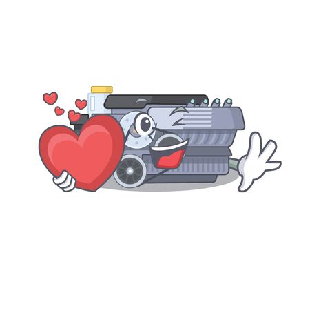 Funny Face combustion engine cartoon character holding a heart. Vector illustration