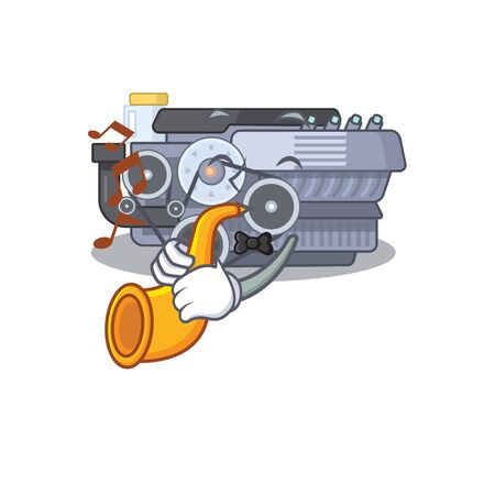 cartoon character style of combustion engine performance with trumpet. Vector illustration Ilustração